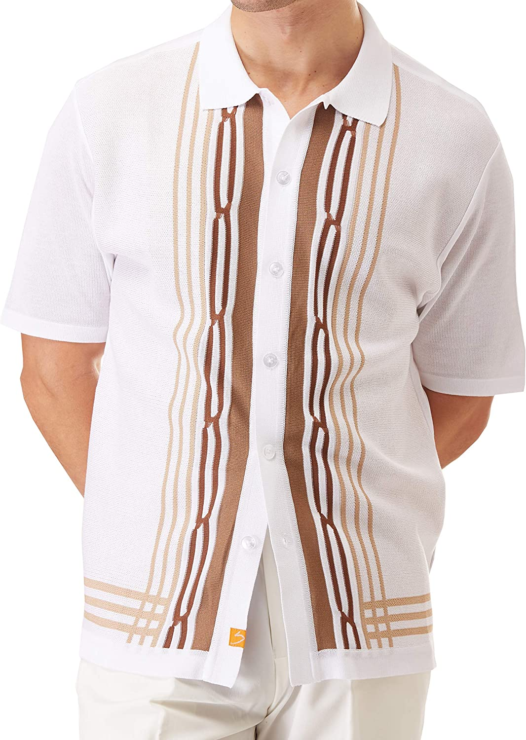 1950s Men's Shirt Styles – Dress Shirts to Casual Pullovers SAFIRE SILK INC. Edition S Mens Short Sleeve Knit Shirt - California Rockabilly Style: Multi Stripes $49.00 AT vintagedancer.com