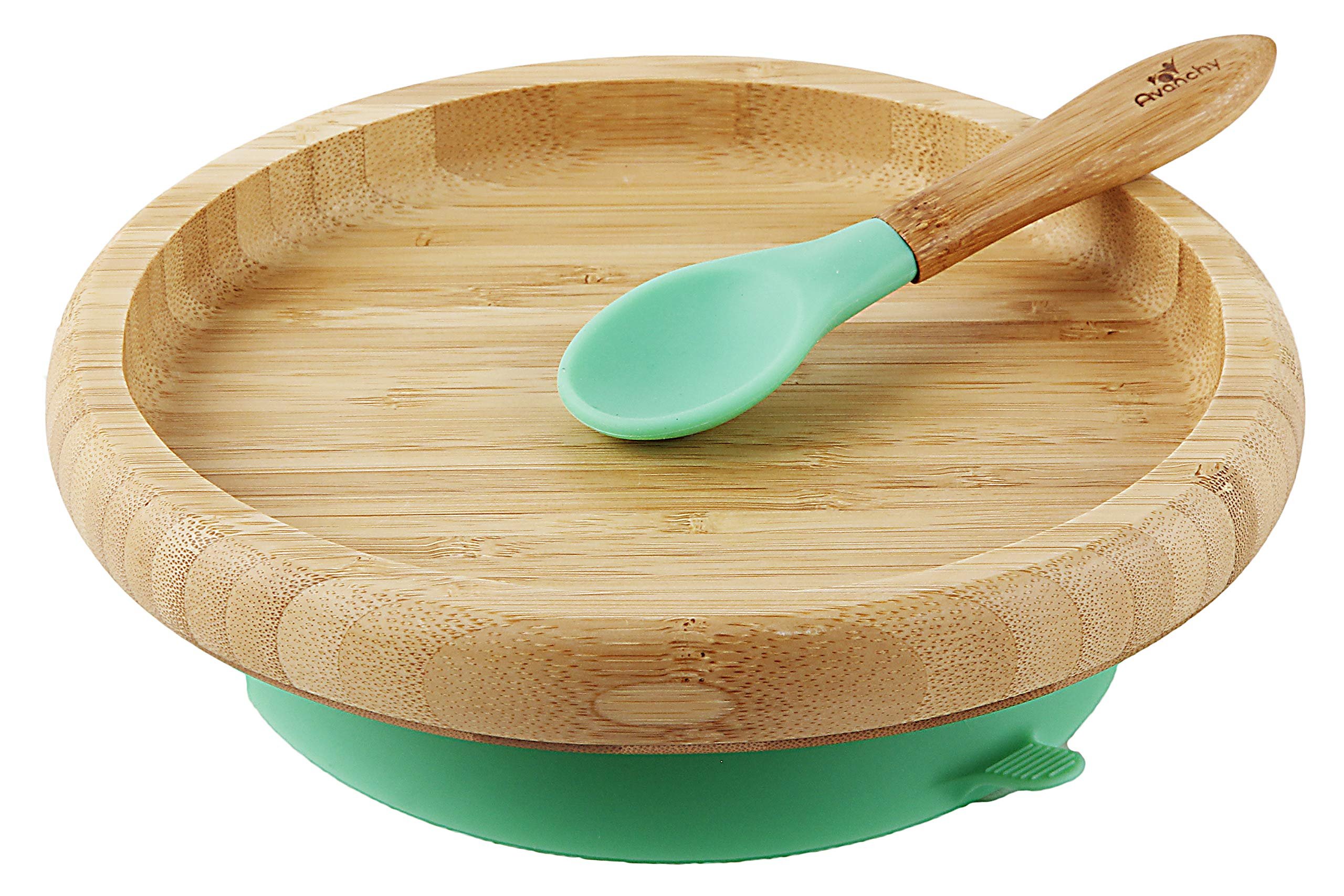 Avanchy Baby Toddler Feeding Plates Suction Stay Put Not Divided Classic Bamboo Plate + Baby Spoon - Great Baby Gift Set (Green)