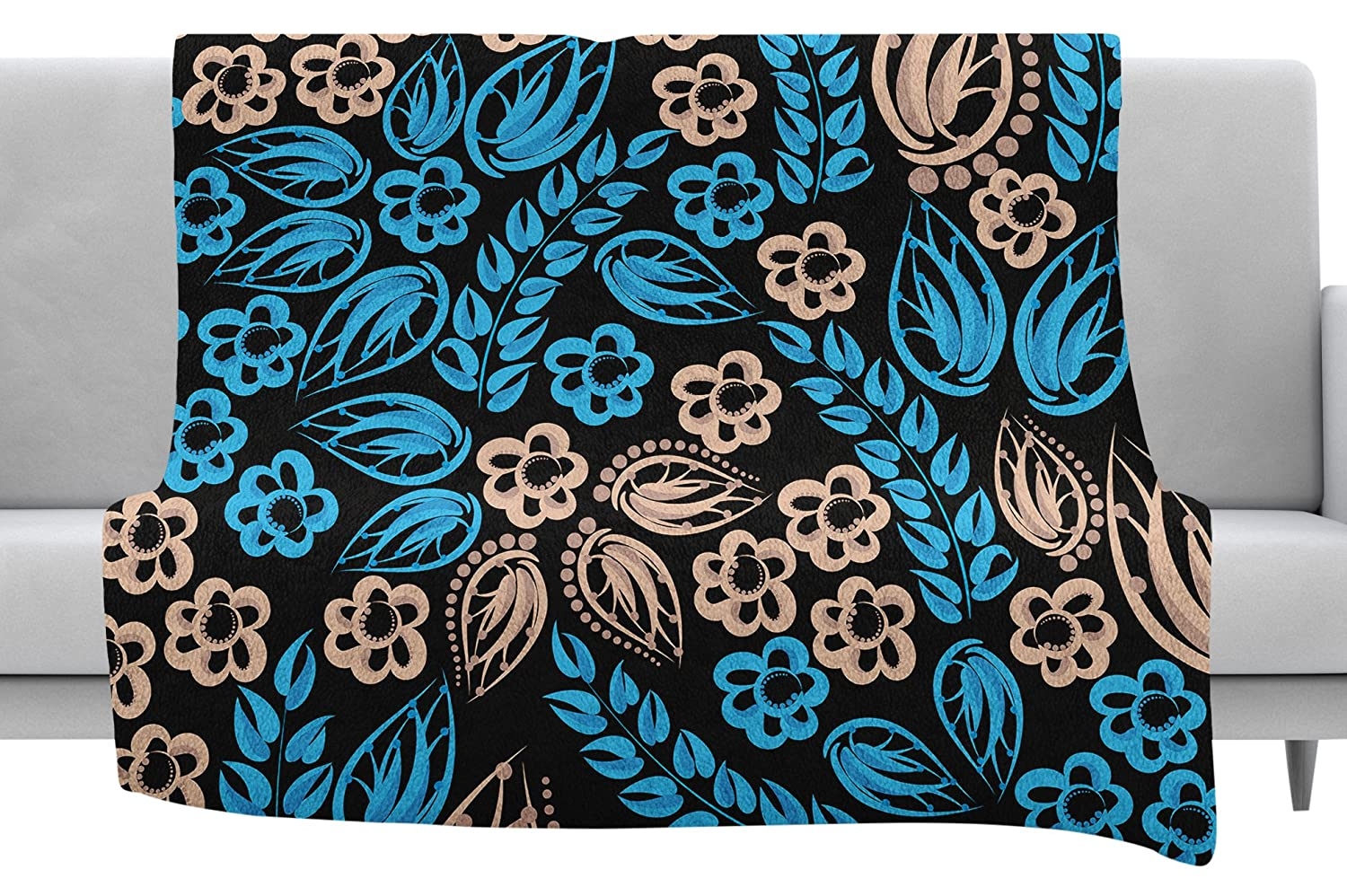 Kess InHouse Maria Bazarova Blue Flowers Black Floral Throw 60 x 40 Fleece Blankets