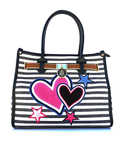 64c2a664db Image Unavailable. Image not available for. Color  Tommy Hilfiger Women s  Adelina Bicolore Striped Satchel Bag