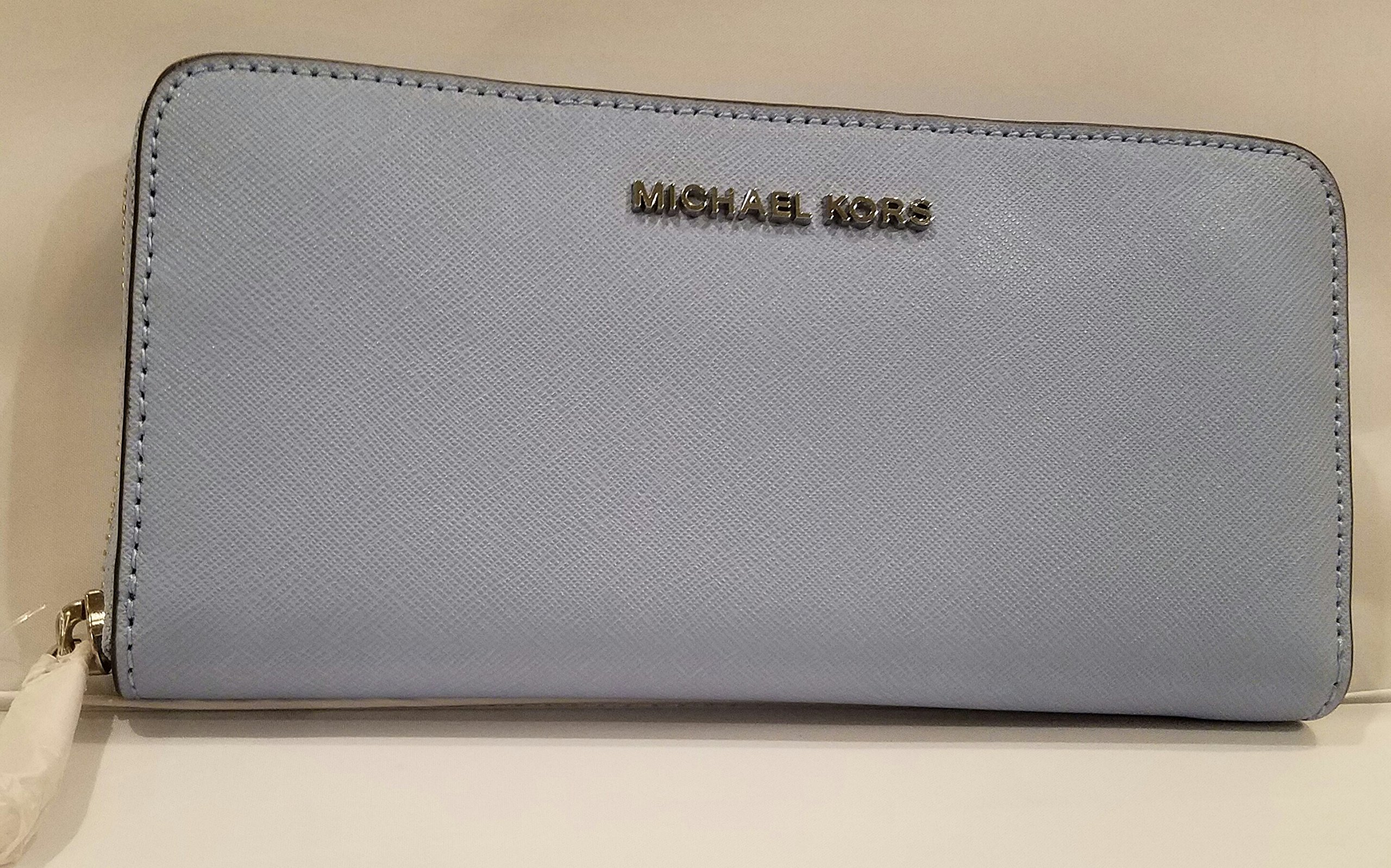 Michael Kors Jet Set Travel ZA Continental Zip Around Wallet, Lt Sky by Michael Kors