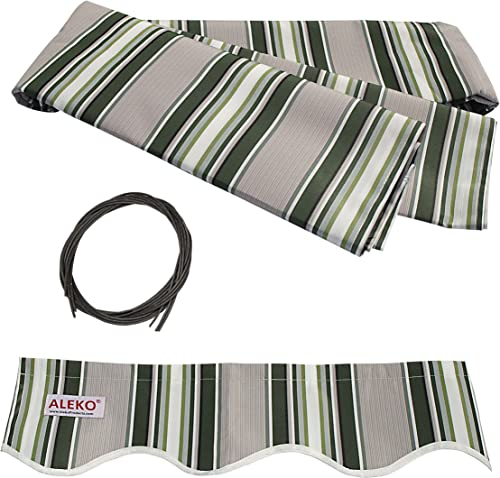 ALEKO FAB10X8MSTRGR58 Retractable Awning Fabric Replacement 10 x 8 Feet Multi-Stripe Green