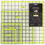 "ARTEZA Acrylic Quilters Ruler & Non Slip Rings - Double-Colored Grid Lines (4.5""X4.5"", 6""X6"", 9.5""X9.5"", 12.5""X12.5"", Set of 4)"