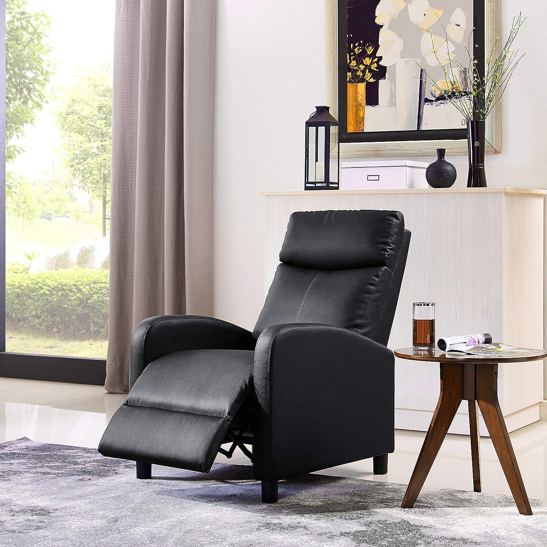 Surprising Details About Push Back Recliner Adjustable Single Sofa Leather Accent Chair W Leg Rest Black Machost Co Dining Chair Design Ideas Machostcouk