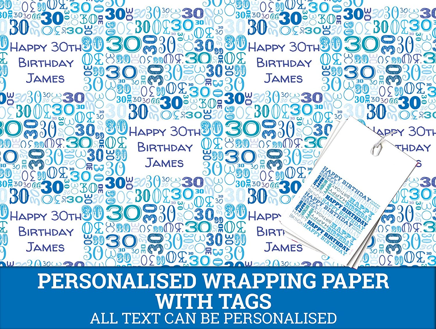 Blue Happy 30th Personalised Wrapping Paper - 590mm x 840mm Dom and Geri
