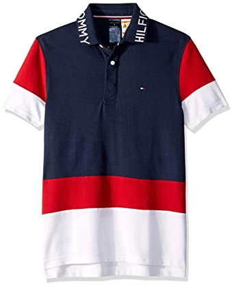 0435696a Tommy Hilfiger Adaptive Men's Polo Shirt with Magnetic Buttons Custom Fit,  Navy/Red/