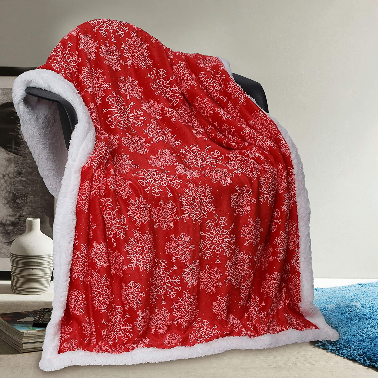 50 x 60 Red Vera Neumann Iclyn Ulta Plush Soft /& Warm Sherpa Throw Blanket