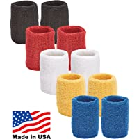 Unique Sports Multi Color Pack Sports Wristbands for Basketball Leagues, 5 Pair of Wristbands per Pack