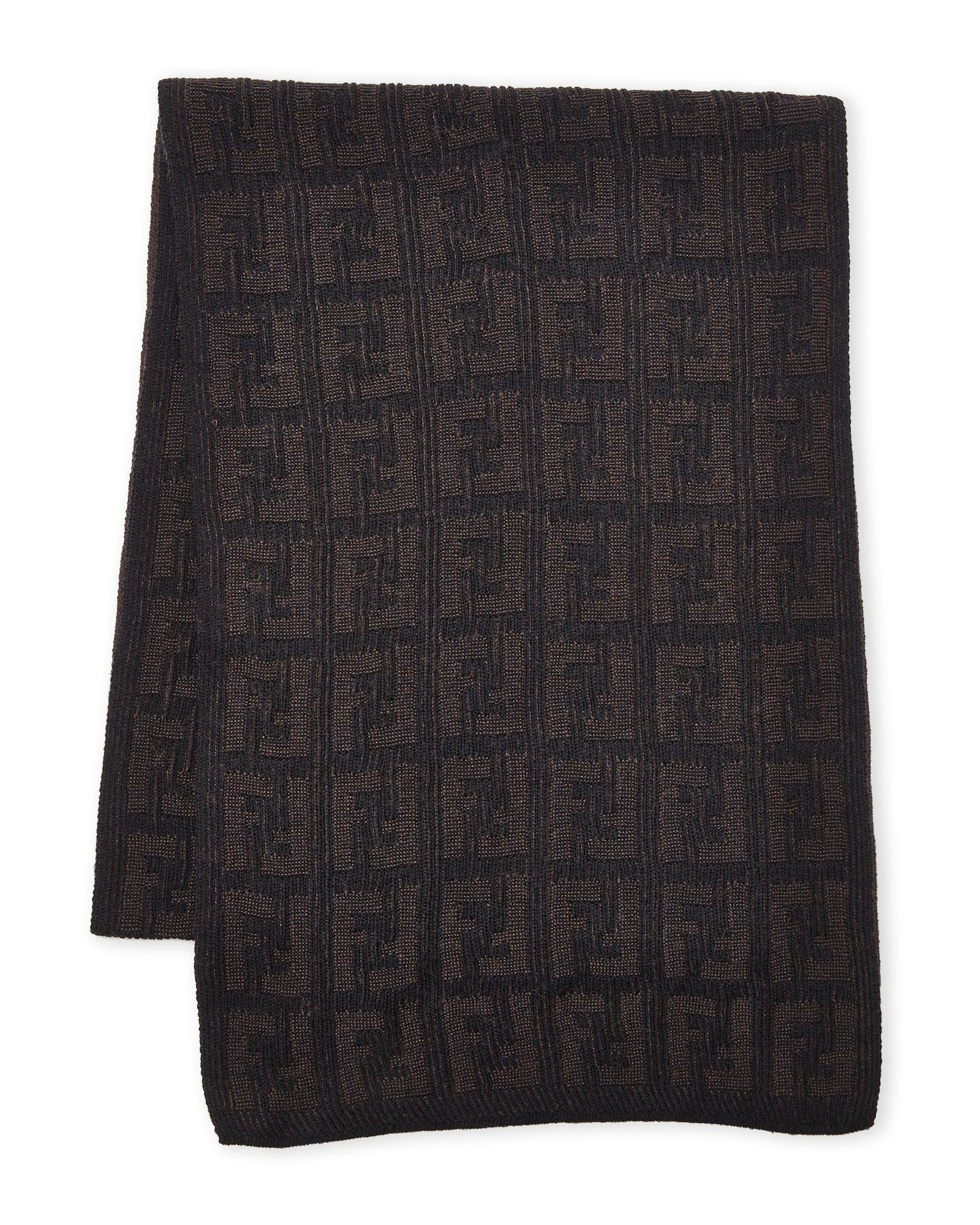 Fendi Women's Men's Knit Tonal Zucca Monogram Wool Scarf, Brown by Fendi