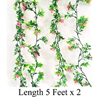 Rain Forest Artificial Plant Vines (Combo Pack - Moonlight Purple Vine 8Ft X 1 + Refreshing Green Vine 8Ft X 1)