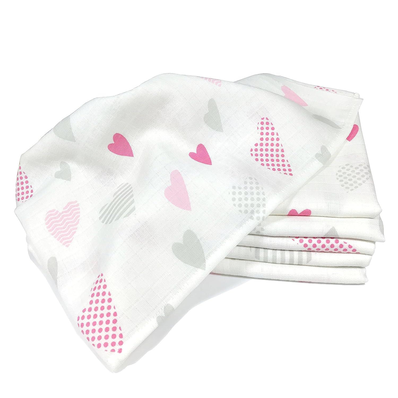 Cœurs langes | Lot de 6 serviettes 100% coton - rot, 80 x 80 cm Imprimé | haute qualité pour 125 g/m² - sans substances nocives, double tissage, certifié Öko-Tex, bordure renforcée, lavable à 95 ° | co