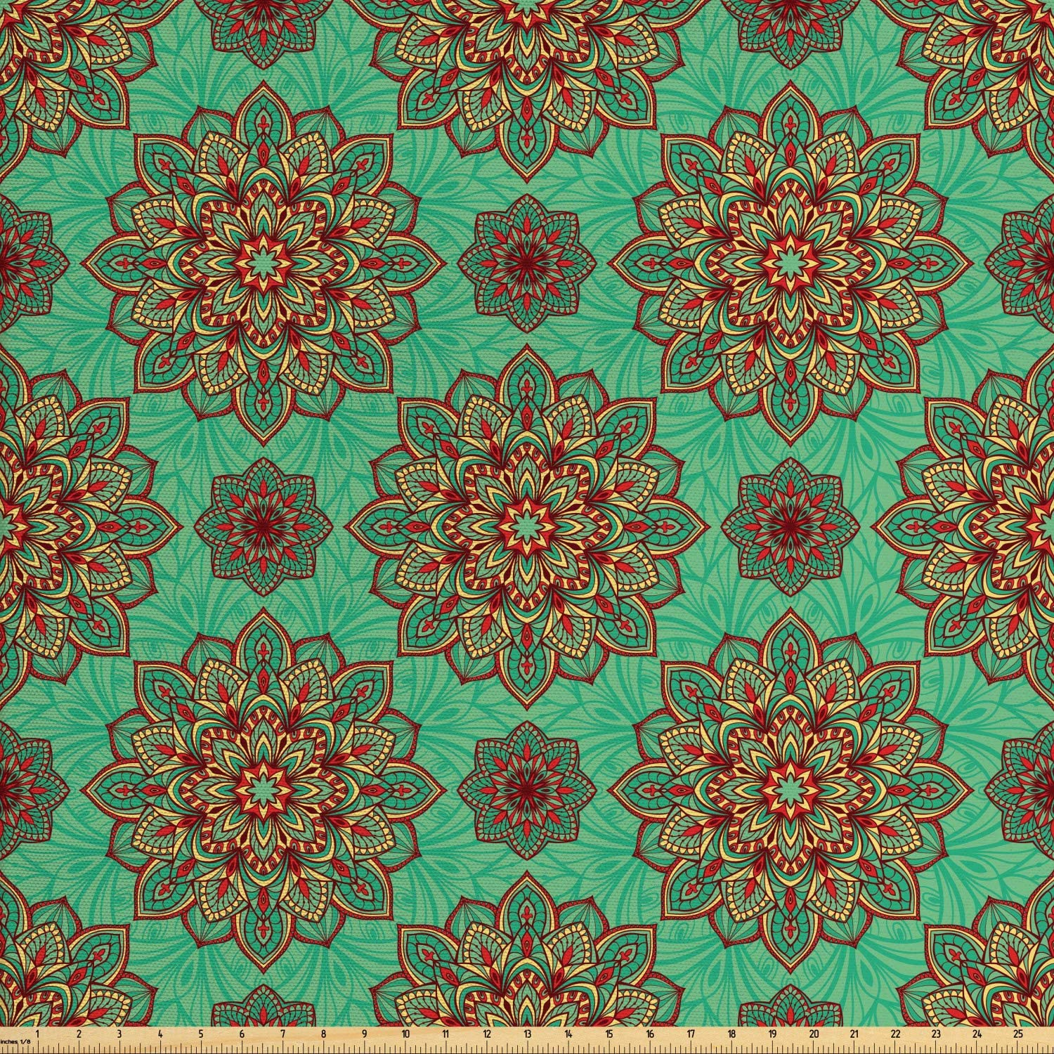 Ambesonne Turquoise Fabric by The Yard, Eastern Oriental Pattern of Mandala Traditional Geometric Art, Decorative Fabric for Upholstery and Home Accents, 1 Yard, Yellow Green
