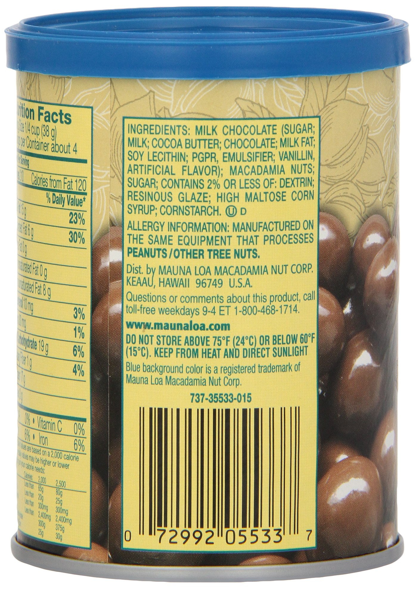 Mauna Loa Macadamias, Milk Chocolate, 5.5-Ounce Containers (Pack of 3)