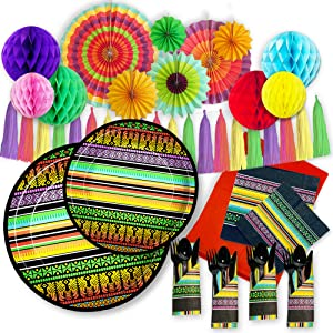 Fiesta & Mexican Themed Party Supplies & Decorations   Serves 16   All-in-One Set for a Cinco de Mayo, Day of the Dead, or Taco Twosday Birthday Party   145 Pieces