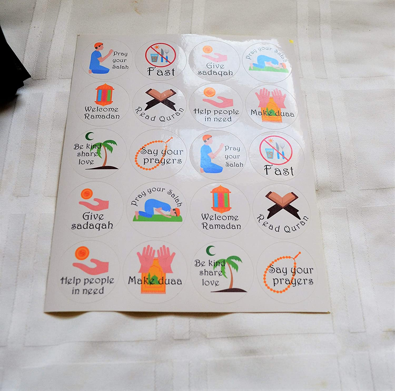 Muslim gifts Ramadan decor Ramadan stickers Islamic Handmade Ramadan 20 stickers for kids good deed charts