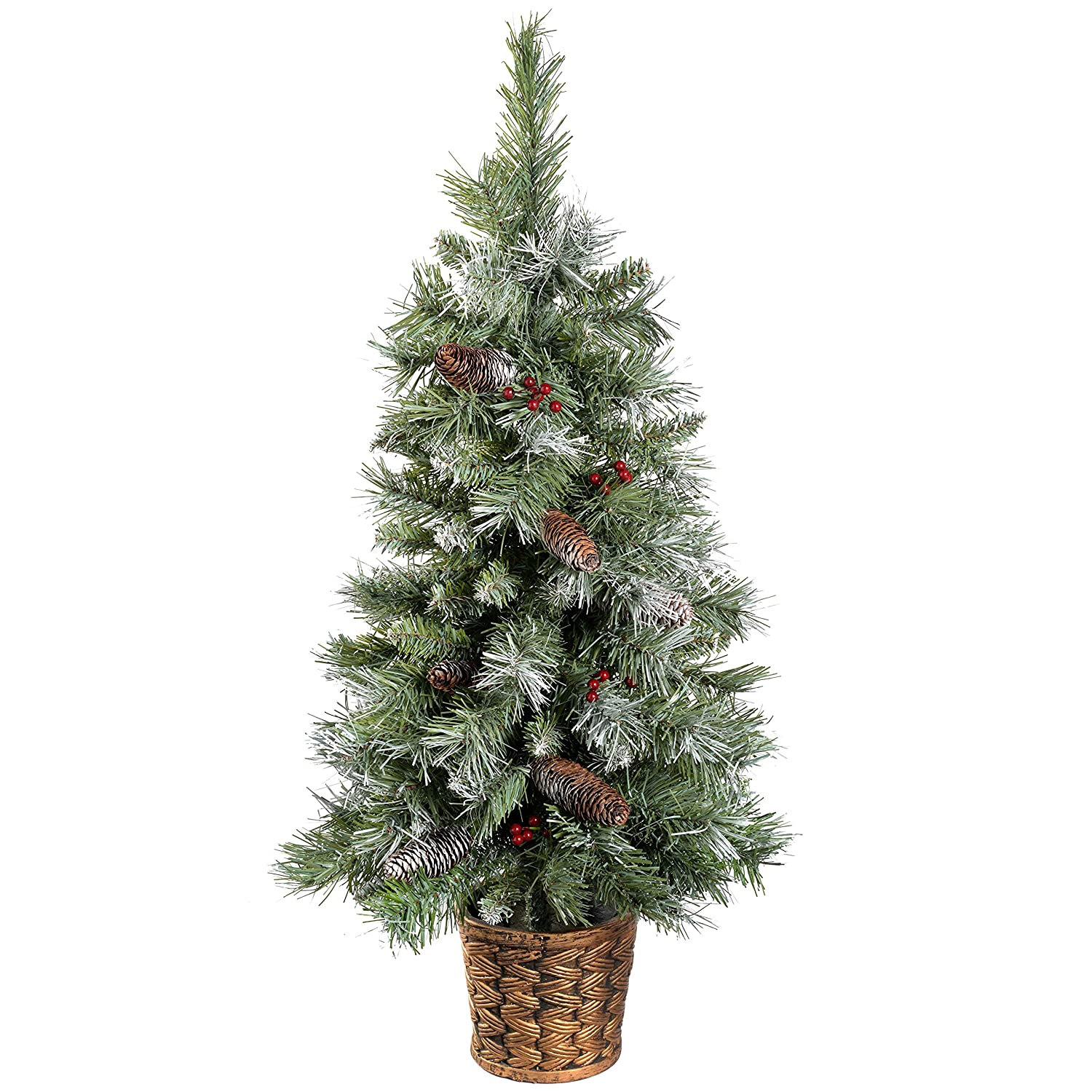 werchristmas scandinavian blue spruce christmas tree with pine cones and berries in a gold resin pot 3 feet green - Flat Back Christmas Tree