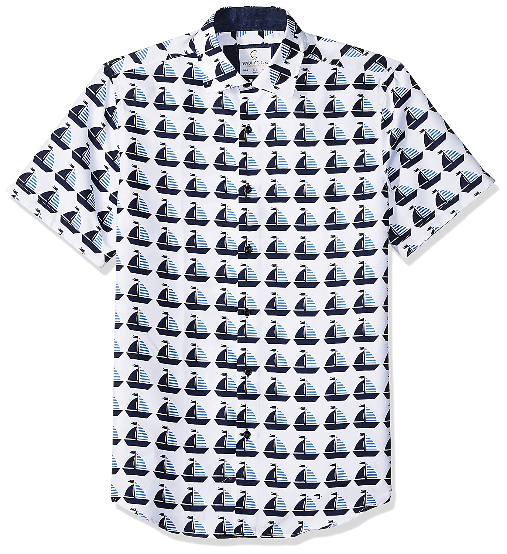 Azaro Uomo Mens Short Sleeve Button Down Shirt Casual Dress Loud Slim Fit