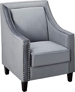 Iconic Home Camren Accent Club Chair Velvet Upholstered Swoop Arm Silver Nailhead Trim Espresso Finished Wood Legs Modern Contemporary, Grey