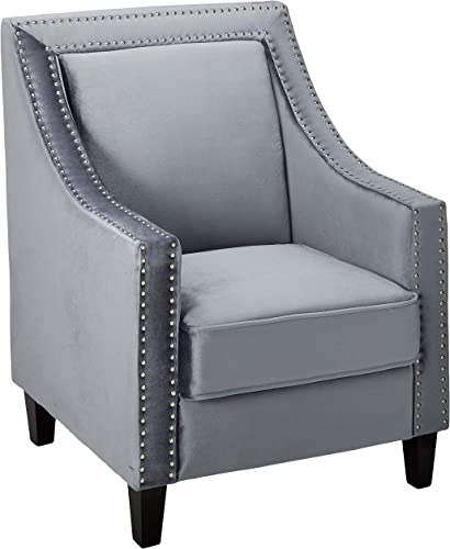 Iconic Home Camren Accent Club Chair Velvet Upholstered Swoop Arm Silver Nailhead Trim Espresso Finished Wood Legs Modern Contemporary