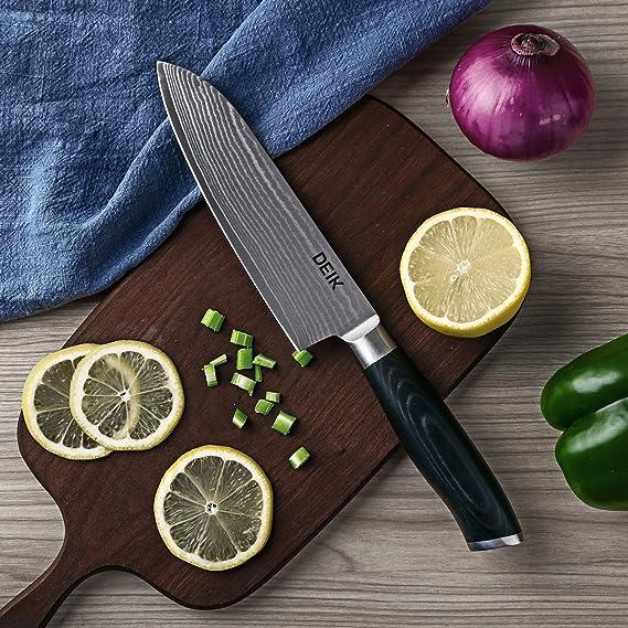 Deik Cuchillos de cocina, Cuchillos japones asiáticos, Cuchillo de Damasco & Acero Inoxidable de Alto Carbón, Profesional Hoja 20cm, Mango Ergonómico