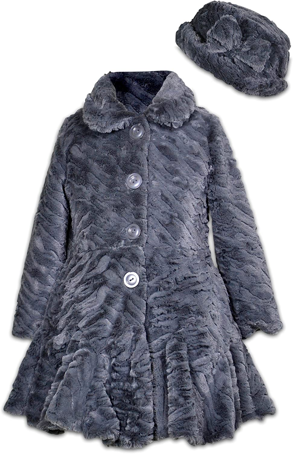Widgeon girls Faux Fur Flounce Skirt Bottom Coat and Hat