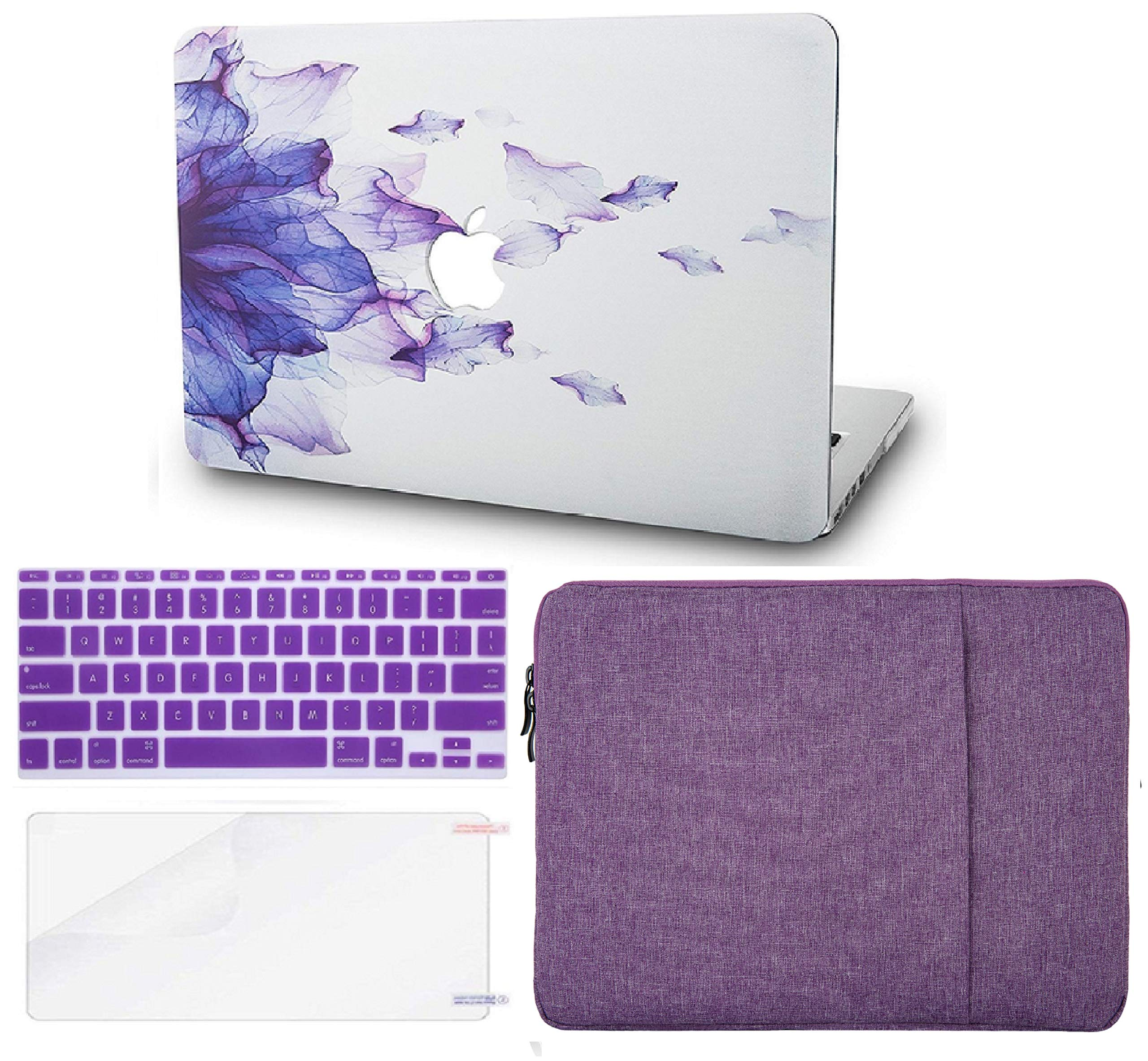 KECC Laptop Case for New MacBook Air 13'' Retina (2019/2018, Touch ID) w/Keyboard Cover + Sleeve + Screen Protector (4 in 1 Bundle) Plastic Hard Shell Case A1932 (Purple Flower) by KECC