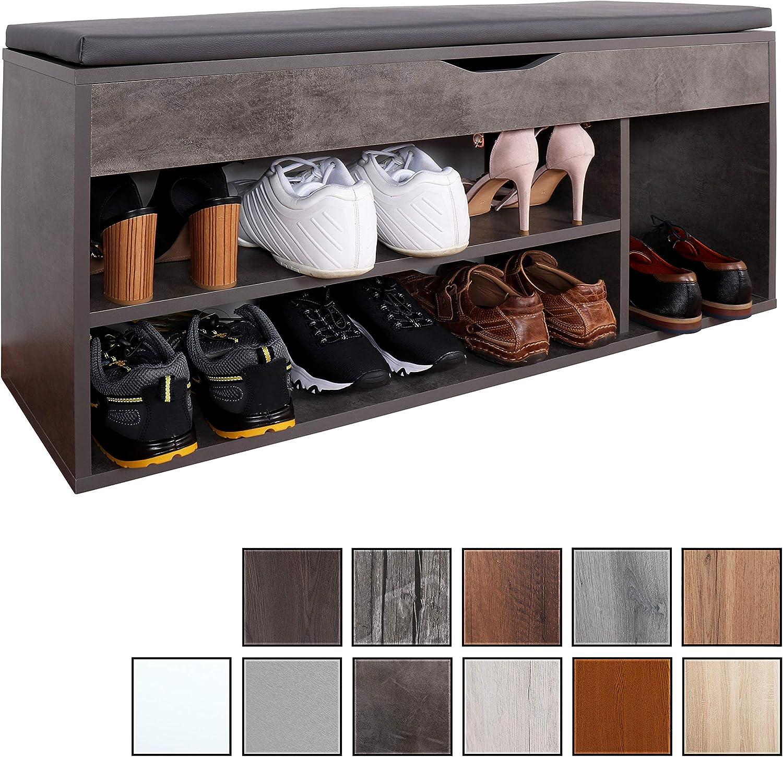 RICOO WM034-BG-A, Banco Zapatero, 104x49x30cm, Armario Interior con Asiento, Organizador Zapatos, Mueble recibidor, Perchero, Madera Gris Cemento