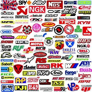POP Sticker Car & Moto Modified Brand Logo Series Sticker Pack (103 pcs) Vinyl Stickers for Laptop,Car,Moto,Skateboard,Bike,Luggage,iPhone.Graffiti Decal for Family,Friends,Children,Adults-Waterproof