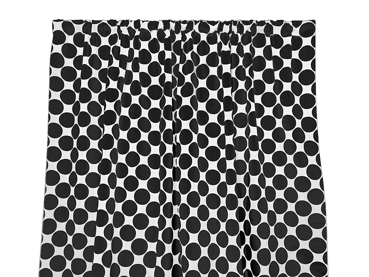 Zen Creative Designs Premium Cotton Large Polka Dot Curtain Panel / Home Window Decor / Window Treatments / Large / Dots / Spots (58 Inch x 36 Inch, Black White)
