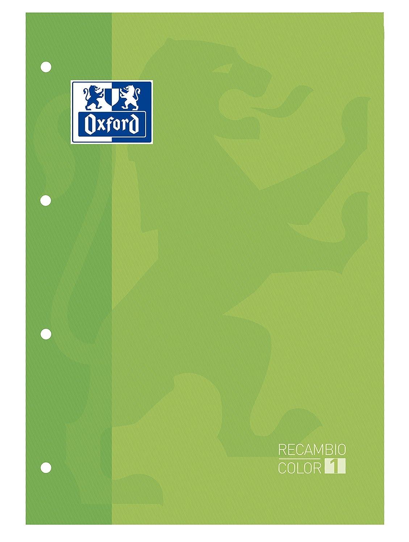 Oxford 100104037 - Recambio, A4, 80 hojas, cuadricula 5 x 5, verde, 5 unidades 5 unidades Hamelin Brands