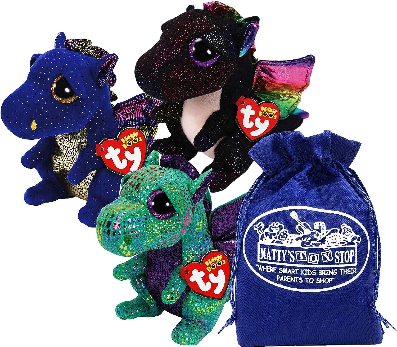 "Ty Beanie Boos ""Dragons Saffire (Blue Dragon), Cinder (Green Dragon) & Anora (Black Dragon) Gift Set Bundle with Bonus Matty's Toy Stop Storage Bag - 3 Pack"