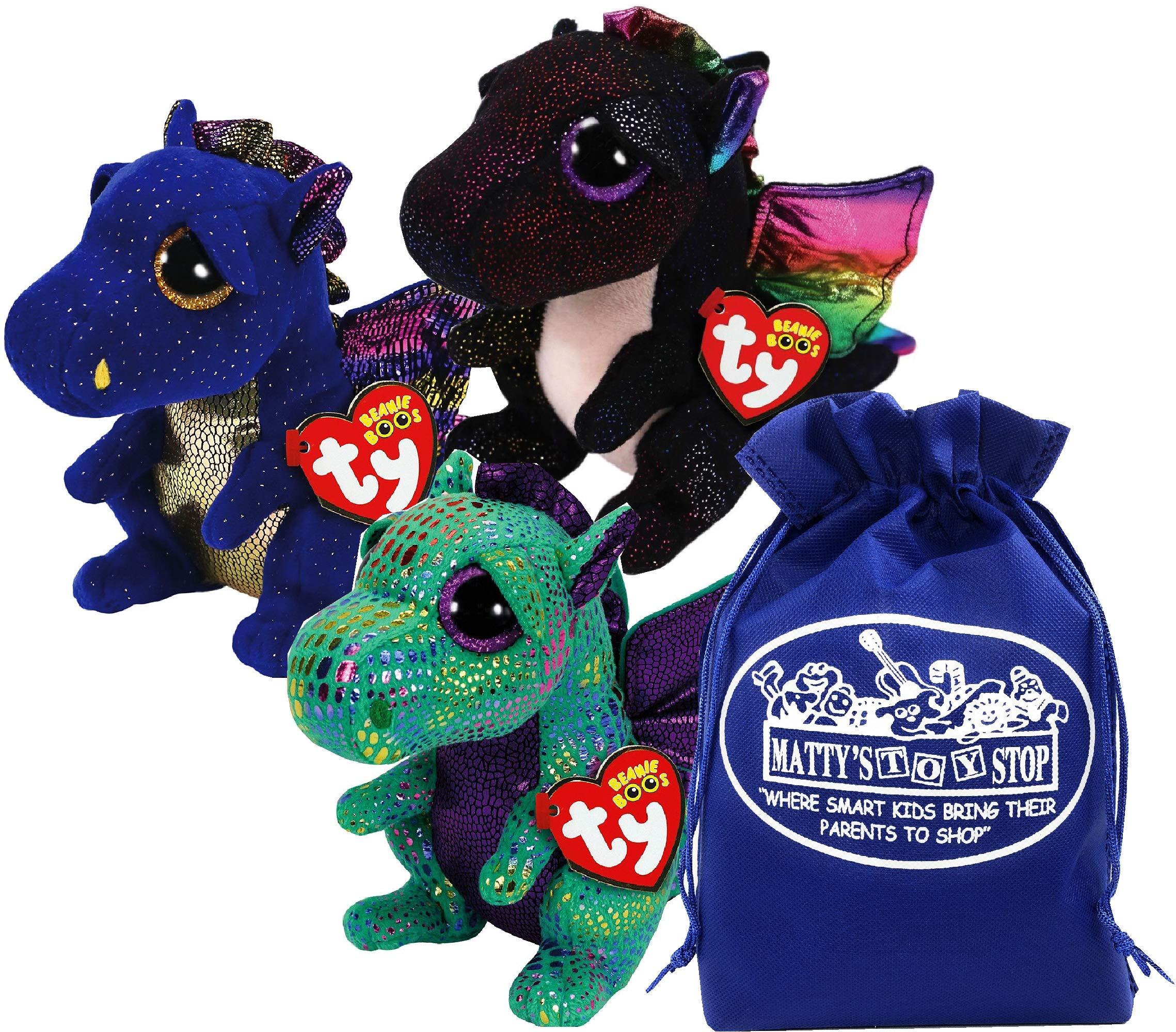 Ty Beanie Boos ''Dragons Saffire (Blue Dragon), Cinder (Green Dragon) & Anora (Black Dragon) Gift Set Bundle with Bonus Matty's Toy Stop Storage Bag - 3 Pack by Ty Beanie Boos
