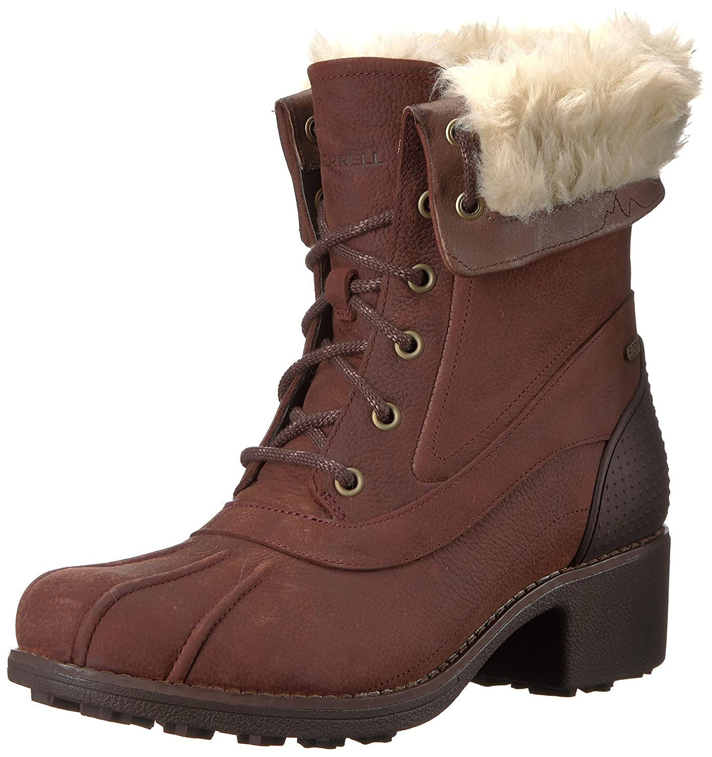 Merrell Women's Chateau Mid Lace Polar Waterproof Snow Boot B01N7VAGRE 7 B(M) US|Brunette