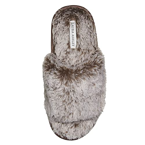 e81643350 Amazon.com | Laura Ashley Ladies Faux Fur Plush Open Toe Scuff Slippers  (See More Colors and Sizes) | Slippers