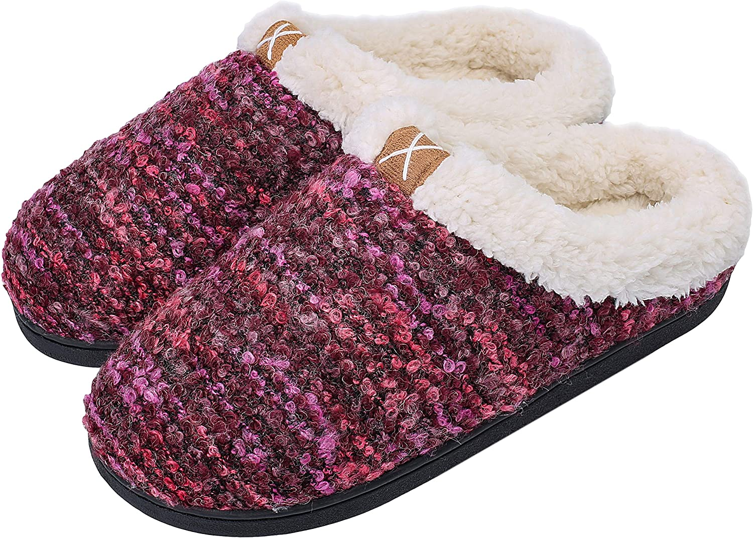 Women's Comfort Memory Foam Slippers Plush Lined House Shoes Indoor, Outdoor Anti-Skid Rubber Sole