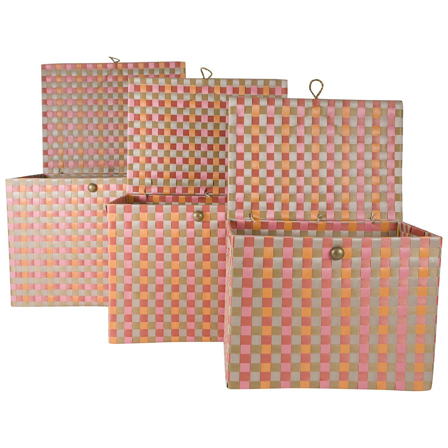 7a127a356e2f Amazon.com  Set of 3 Large Nylon Lidded Storage Bins Nested (Set of 3)  (Pink Red and Grey)  Home   Kitchen