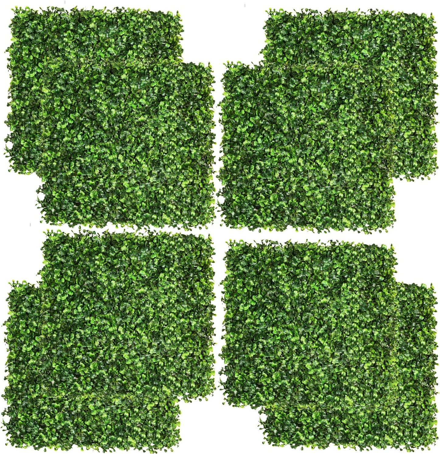 "DearHouse 8 Pieces 20""x 20"" Artificial Boxwood Panels Topiary Hedge Plant, Privacy Hedge Screen UV Protected Suitable for Outdoor, Indoor, Garden, Fence, Backyard and Decor"