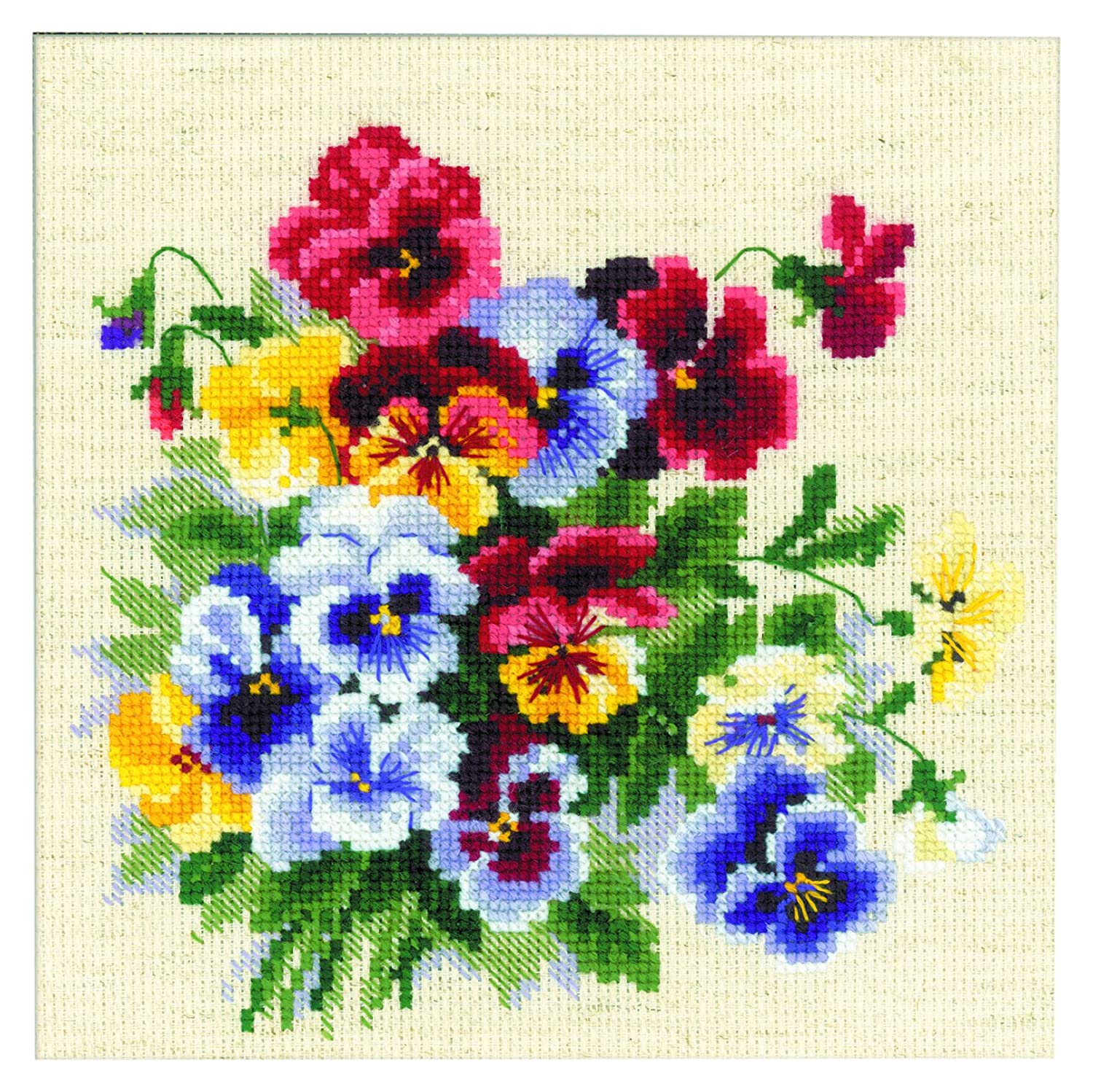 RIOLIS 1516 14 Count Pansy Medley Counted Cross Stitch Kit, 8 by 8, Multicolor 8 by 8