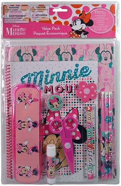 Minnie Mouse - Estuche de plástico para lápices (11 piezas, incluye estuche de PVC): Amazon.es: Oficina y papelería