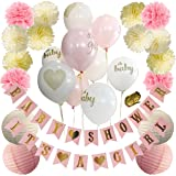 Baby Shower Decorations For Girl - 28PCS Baby Shower Decorations: It's a Girl & Baby Shower Banner, Baby Girl Shower Decorations Kit with Banners, Balloons, Pom Poms and Lanterns - Pink, Gold & White