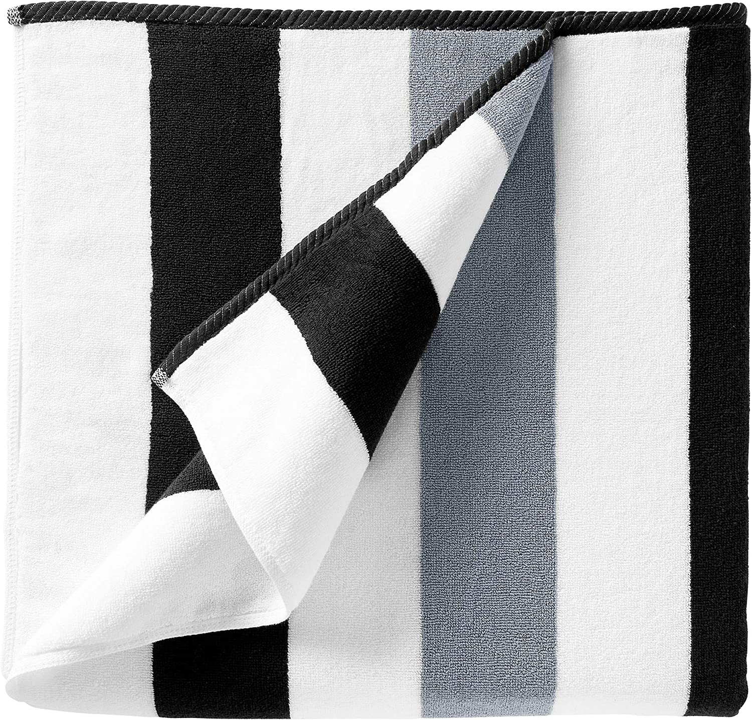 Cabana Beach Towel - Oversized Black & Gray Summer Sunbathing and Pool Side Lounge Comfort