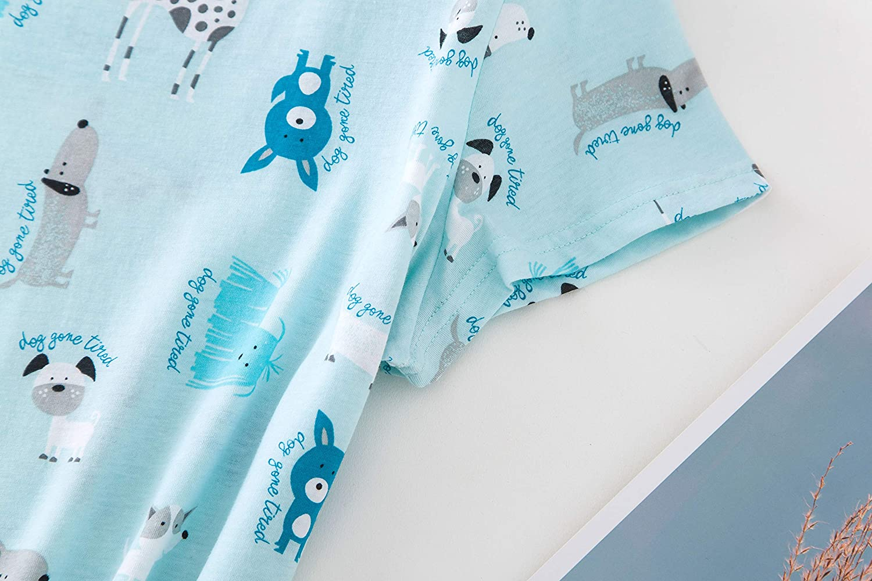 PNAEONG Women's Cotton Nightgown Sleepwear Short Sleeves Shirt Casual Print Sleepdress at  Women's Clothing store
