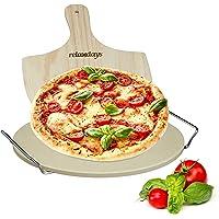 aus Cordierit K/üchenprofi BBQ Pizzastein Profi rechteckig mit Fu/ß f/ür Backofen und Grill