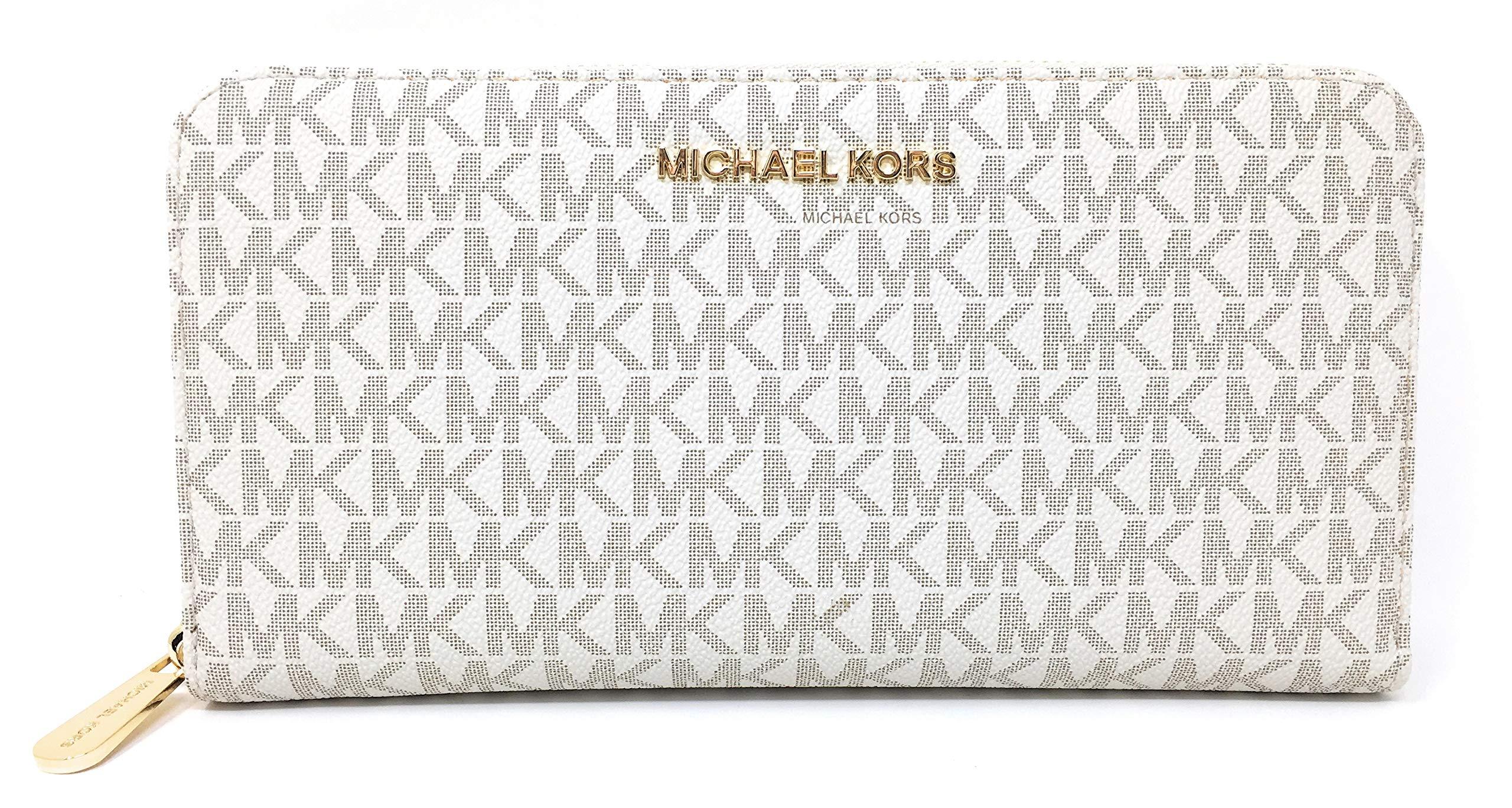 Michael Kors Jet Set Travel Zip Around Travel Wallet (Vanilla 2019)