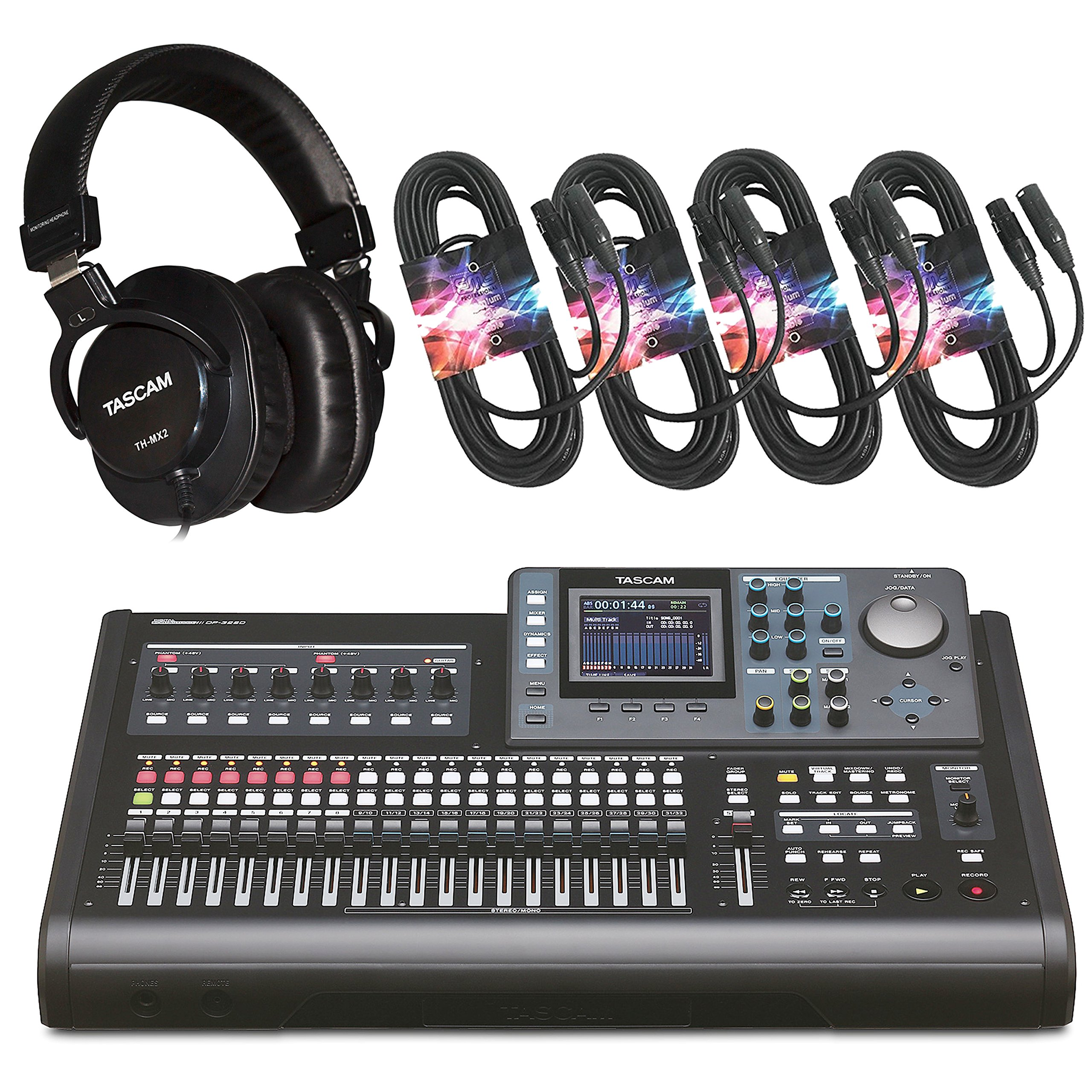 Tascam DP-32SD 32 Tracks Digital Portastudio + TH-MX2 Heaphones + XLR Cables