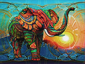 5D DIY Diamond Painting Kits for Adults Full Drill Crystal Rhinestone Embroidery Cross Stitch Arts Craft Canvas for Home Wall Decor-Colorful Elephants