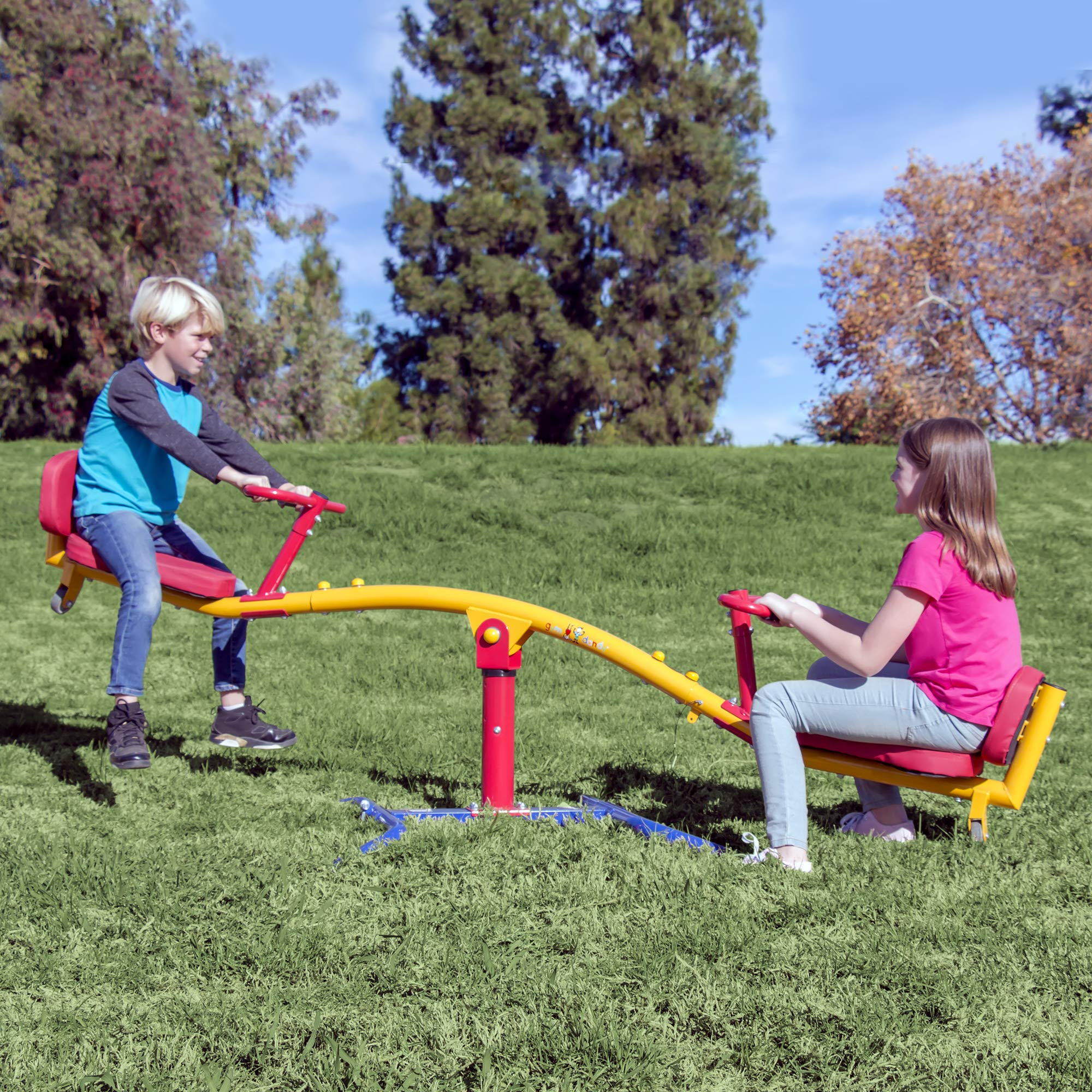 Gym Dandy Spinning Teeter Totter - Impact Absorbing Kids Playground Equipment - 360 Degree Rotation by Gym Dandy
