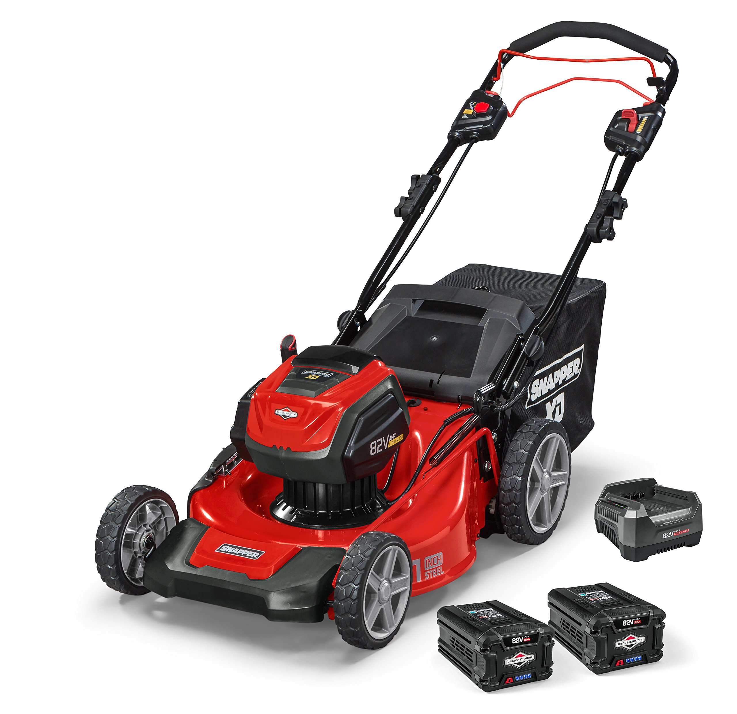 Snapper XD 82V MAX Electric Cordless 21-Inch Self-Propelled Lawnmower Kit with (2) 2.0 Batteries & (1) Rapid Charger, 1687914, SXD21SPWM82K by Snapper