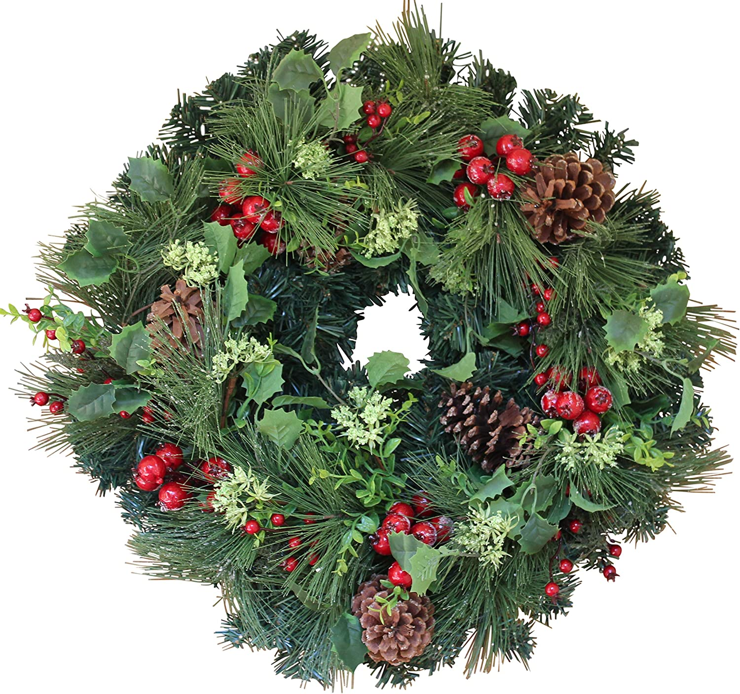 The Wreath Depot Aurora Winter Wreath, 22 Inches, Designer Full Winter Wreath Enhances Front Door Decor, White Gift Box Included