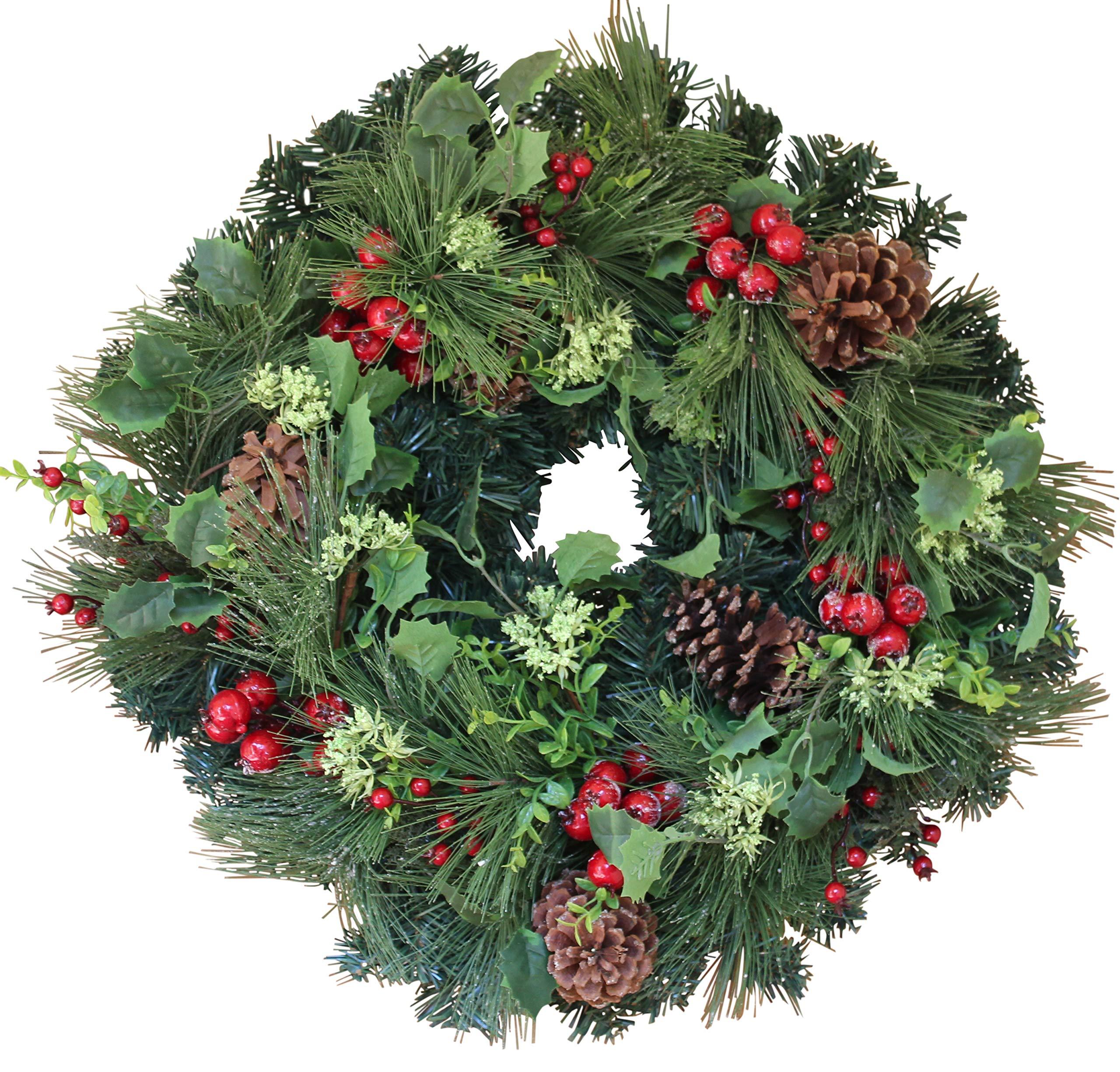 The Wreath Depot Aurora Winter Wreath, 22 Inches, Designer Full Winter Wreath Enhances Front Door Decor, White Gift Box Included